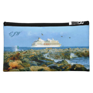 Seascape with Cruise Ship Monogrammed Makeup Bag