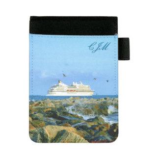 Seascape with Cruise Ship Monogrammed Mini Padfolio