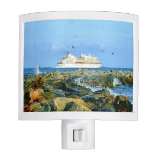 Seascape with Cruise Ship Night Light