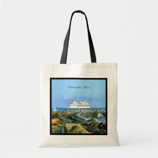 Seascape with Cruise Ship Personalized Tote Bag
