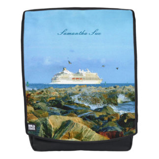 Seascape with Cruise Ship Personsalized Backpack