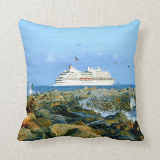 Seascape with Cruise Ship Throw Pillow