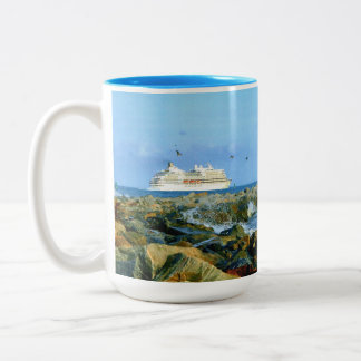 Seascape with Cruise Ship Two-Tone Coffee Mug