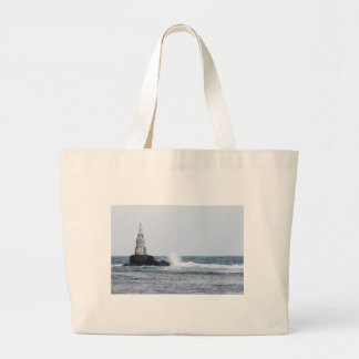 Seascape with lighthouse large tote bag