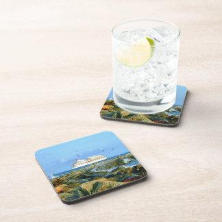 Seascape with Luxury Cruise Ship Beverage Coaster
