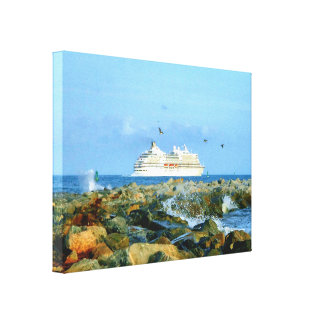 Seascape with Luxury Cruise Ship Canvas Print