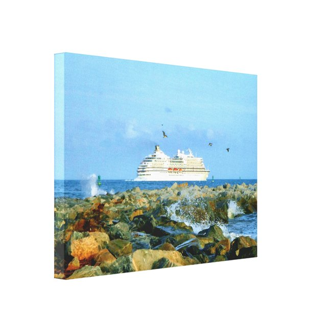 Seascape with Luxury Cruise Ship