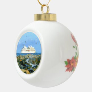 Seascape with Luxury Cruise Ship Ceramic Ball Christmas Ornament