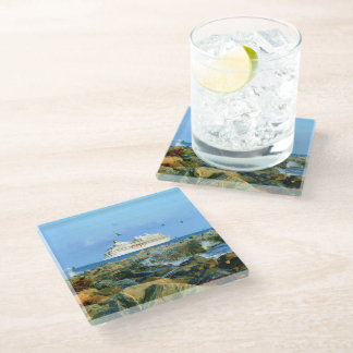Seascape with Luxury Cruise Ship Glass Coaster