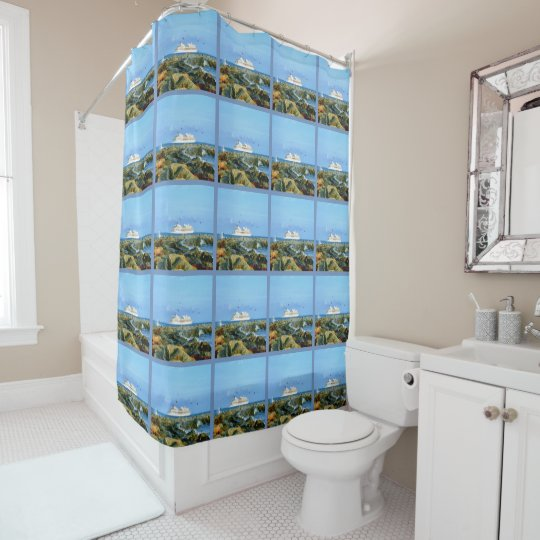 Seascape With Luxury Cruise Ship Shower Curtain Zazzlecom - Cruise ship shower