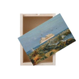 Seascape with Luxury Cruise Ship Wooden Keepsake Box