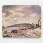 Seascape with ponies on the beach mouse pad