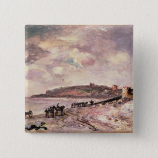 Seascape with ponies on the beach pinback button