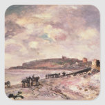 Seascape with ponies on the beach square sticker