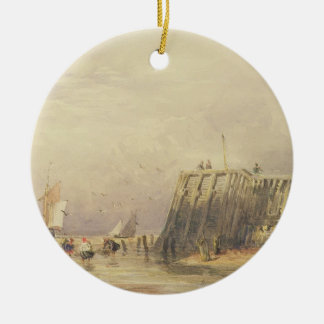 Seascape with Sailing Barges and Figures Wading Of Ceramic Ornament