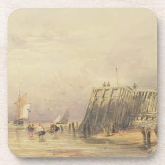 Seascape with Sailing Barges and Figures Wading Of Drink Coasters