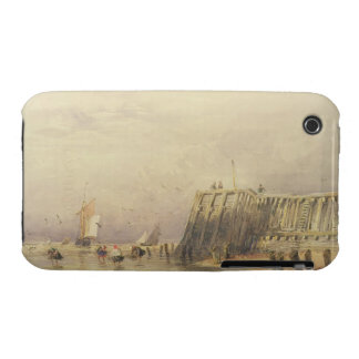 Seascape with Sailing Barges and Figures Wading Of iPhone 3 Case