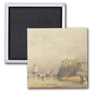 Seascape with Sailing Barges and Figures Wading Of Magnet
