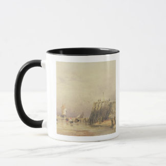 Seascape with Sailing Barges and Figures Wading Of Mug