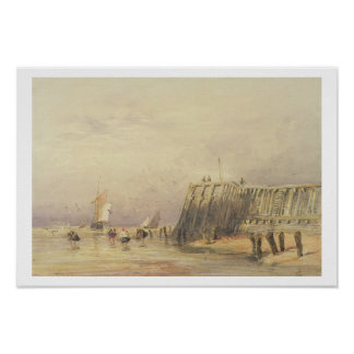 Seascape with Sailing Barges and Figures Wading Of Poster