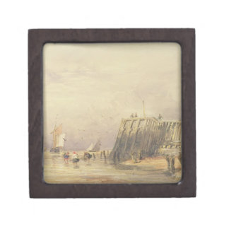 Seascape with Sailing Barges and Figures Wading Of Premium Keepsake Box