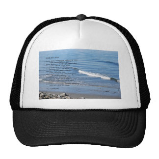 Seascape with waves and poem hat