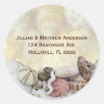 Seashell Address Label Classic Round Sticker