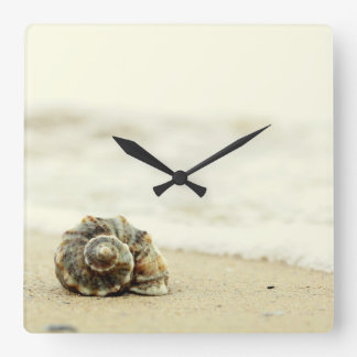 Seashell Alone On Beach Square Wall Clock