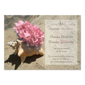 Seashell and Hydrangea Pink Save the Date Card