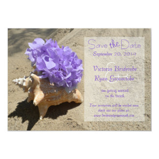 "Seashell and Hydrangea Purple Save the Date 5"" X 7"" Invitation Card"