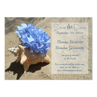 Seashell and Hydrangea Save the Date Card