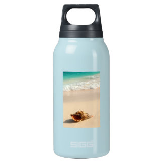 Seashell and ocean wave insulated water bottle