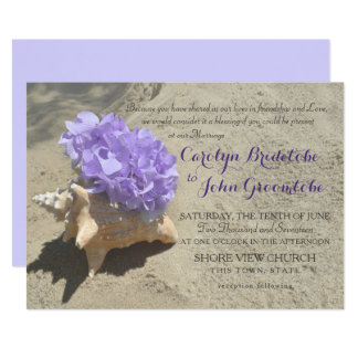 Seashell and Purple Hydrangea in Sand Card