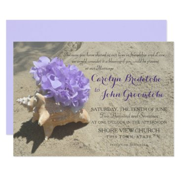 Beach Themed Seashell and Purple Hydrangea in Sand Card
