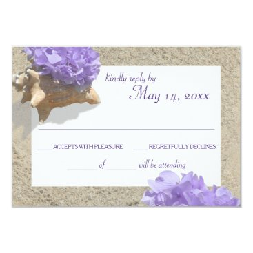 Beach Themed Seashell and Purple Hydrangea in Sand RSVP Card