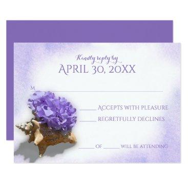 Beach Themed Seashell and Purple Hydrangea Wedding Response Card