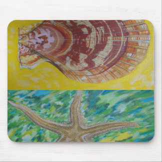 seashell and seastar mouse pad