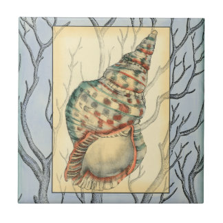 Seashell and Tree Branches Ceramic Tile