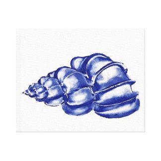 seashell azul impresión en lona