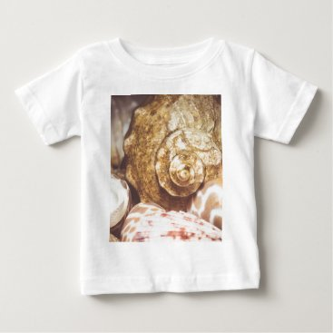 Beach Themed Seashell Background Macro Retro 2 Baby T-Shirt