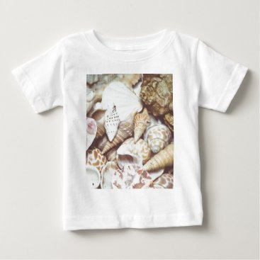 Beach Themed Seashell Background Macro Retro Baby T-Shirt