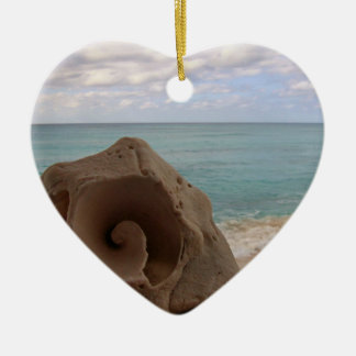 Seashell Beach Paradise Double-Sided Heart Ceramic Christmas Ornament