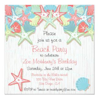 Seashell Beach Party Invitations