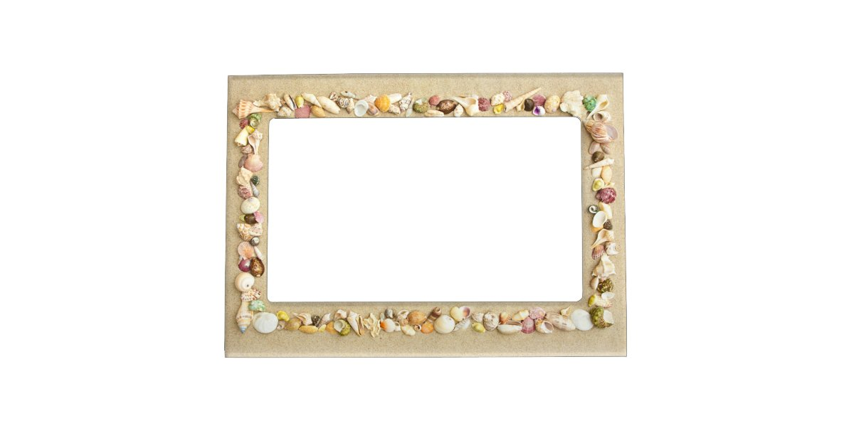 seashell beach sand border magnetic frame zazzle