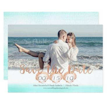 Beach Themed Seashell Beach Save the Date Card