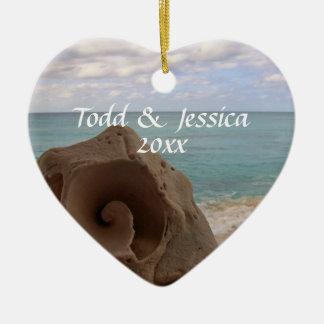 Seashell Beach Theme Wedding 1st Christmas Ceramic Ornament