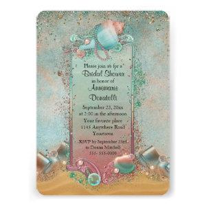 Seashell Beach Themed Bridal Shower Invites