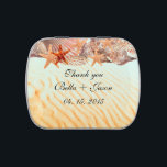 """Seashell beach wedding favors seashell5 candy tin<br><div class=""""desc"""">Trendy beach wedding favors candy tin features seashells over sand background.  Fully customizable,  click Customize it button to change font size,  color and style. You can also delete,  rearrange or add more text to suit your needs.</div>"""