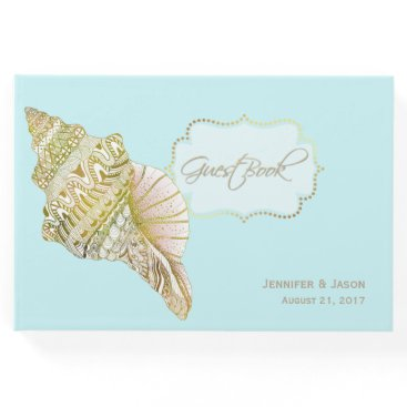 Beach Themed Seashell Beach Wedding Guest Book