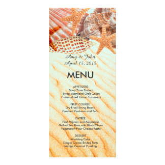Seashell beach wedding menu seashell5 rack card design